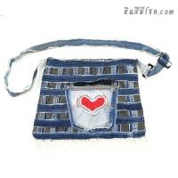 กระเป๋ายีนส์ สะพายข้าง 10 x 13 นิ้ว ปักรูปหัวใจ 3