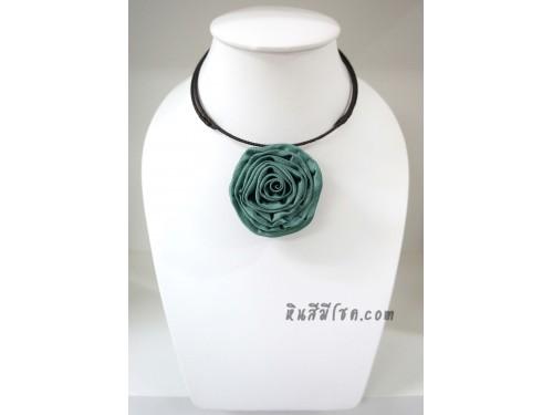 โชคเกอร์ดอกไม้จากผ้าไหม (สีเขียวอมฟ้า 03)