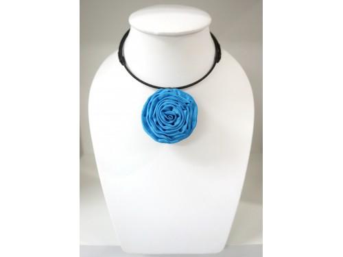 โชคเกอร์ดอกไม้จากผ้าไหม (สีฟ้า)