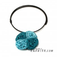 โชคเกอร์ดอกไม้ผ้าไหม 4 ดอก (สีฟ้าทูโทน)