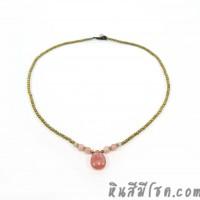 สร้อยคอเม็ดทองเหลือง จี้หินหยดน้ำสีชมพู