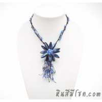 สร้อยคอดอกไม้ จากเปลือกหอยแหลม ไซส์ M (สีน้ำเงิน)
