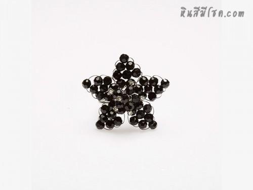 แหวนคริสตัลรูปดาว (สีดำ)