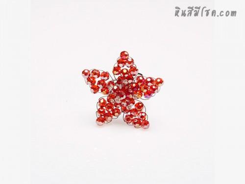 แหวนคริสตัลรูปดาว (สีแดงใส)