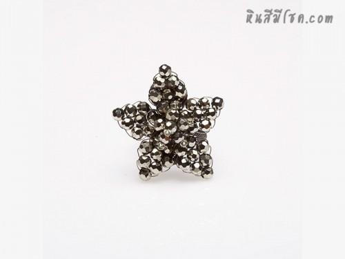แหวนคริสตัลรูปดาว (สีโลหะ)