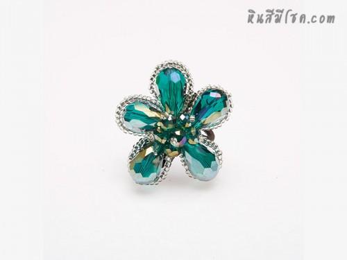 แหวนดอกไม้คริสตัล (สีเขียว)