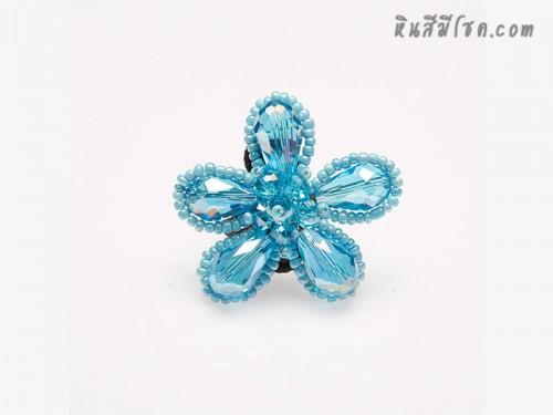 แหวนดอกไม้คริสตัล (สีฟ้า)