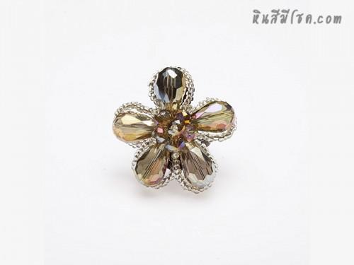 แหวนดอกไม้คริสตัล (สีสโมกกี้)