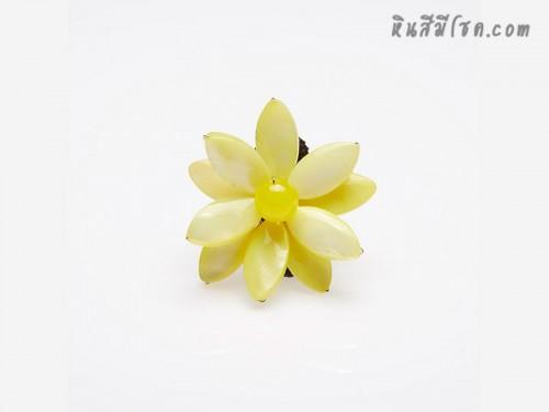 แหวนดอกไม้จากเปลือกหอยรูปไข่ (สีเหลือง)