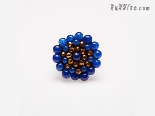 แหวนลูกปัด ล้อมคริสตัล (สีน้ำเงิน)