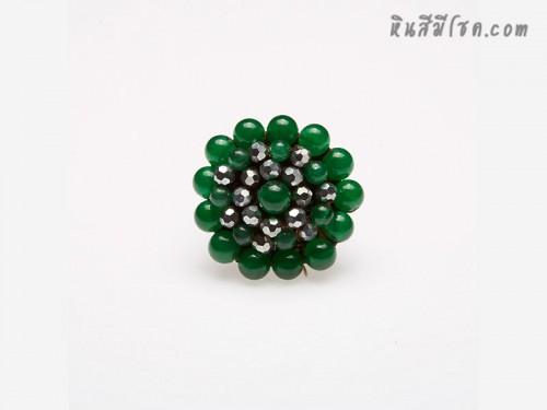 แหวนลูกปัด ล้อมคริสตัล (สีเขียว)