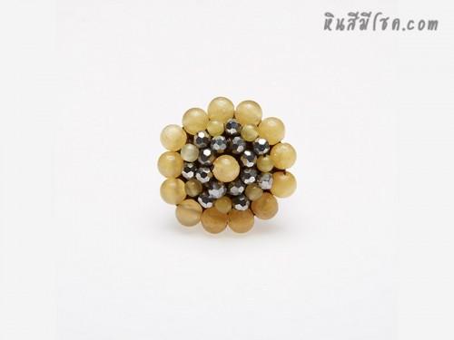 แหวนลูกปัด ล้อมคริสตัล (สีเหลือง)