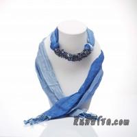 ผ้าพันคอสีน้ำเงินทูโทนประดับด้วยหินลาพิส