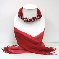 ผ้าพันคอสีแดงทูโทนประดับหินมิกซ์