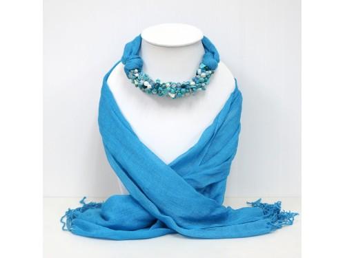 ผ้าพันคอสีฟ้าล้วนประดับหินมิกซ์