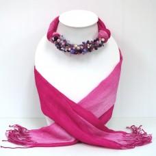 ผ้าพันคอสีชมพูทูโทนประดับหินมิกซ์