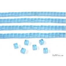 แท่งแก้วสี่เหลี่ยมจัสตุรัส สีฟ้า
