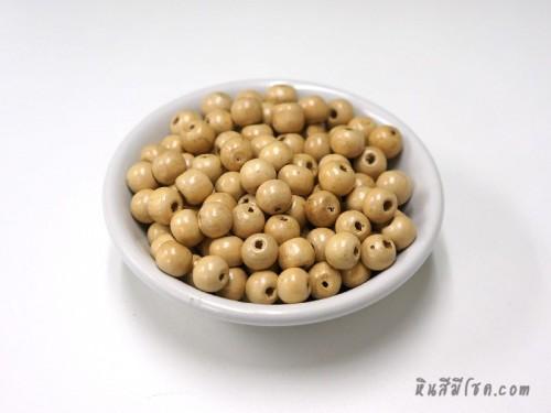 ลูกปัดไม้ 8 มิล สีครีม (20 กรัม)