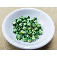 ลูกปัดไม้ 7x6 มิล สีเขียว (แพคละ 50 เม็ด)