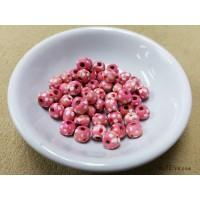 ลูกปัดไม้ 7x6 มิล สีชมพู (แพคละ 50 เม็ด)