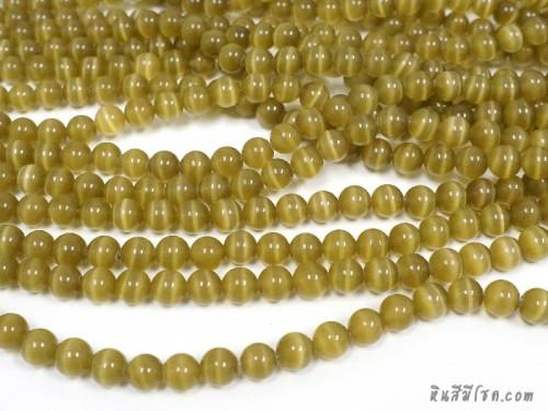 แก้วตาแมว 10 มิล สีเขียวขี้ม้า