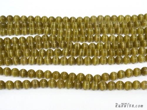 แก้วตาแมว 8 มิล สีเขียวอมเหลือง