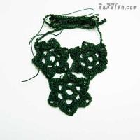 สร้อยคอโครเชต์ 3 ดอก สีเขียว
