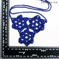 สร้อยคอโครเชต์ 3 ดอก สีน้ำเงิน