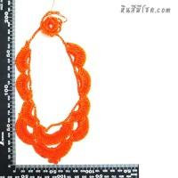 สร้อยคอโครเชต์ V ถักระบาย สีส้ม