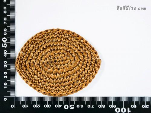 แป้นวงรี  6x7.5 cm สีครีมเข้ม