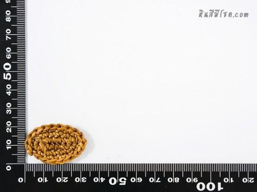 แป้นวงรี  2x3 cm สีครีมเข้ม