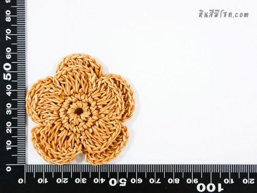 ดอกไม้ 5 กลีบ 2 ชั้น 6 cm สีน้ำตาลอ่อน