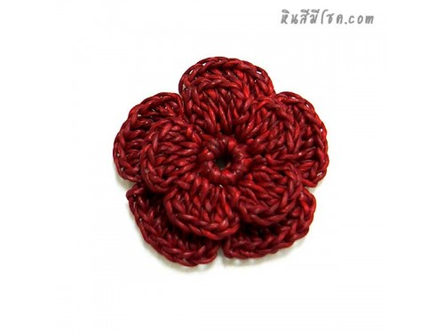 ดอกไม้ 5 กลีบ 5 cm สีแดง