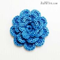 ดอกไม้ 5 กลีบ ซ้อน 3 ชั้น 5 cm สีฟ้า