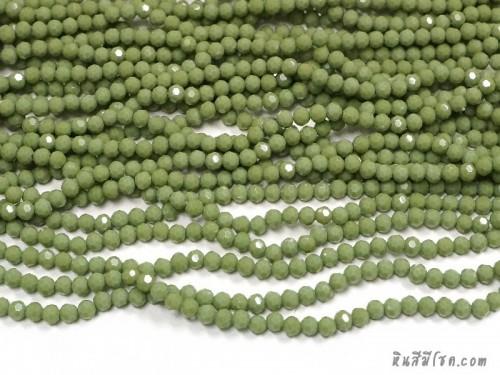 คริสตัลกลม 4 มิล สีเขียวตอง