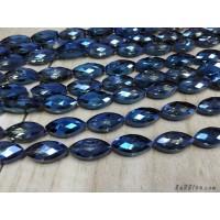 คริสตัลทรงรียาว 12*25 มิล สีน้ำเงินใส