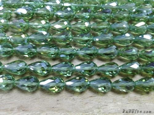 คริสตัลหยดน้ำหัวตัด 10*14 มิล สีเขียว