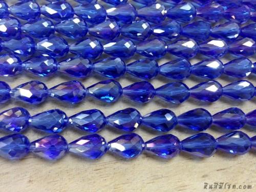คริสตัลหยดน้ำหัวตัด 10*14 มิล สีน้ำเงิน