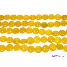 หินกลมแบน 15 มิล สีเหลือง