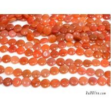 หินกลมแบน 15 มิล สีส้ม