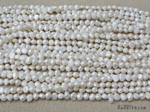มุกน้ำจืดซาลาเปา 8 มิล สีขาว