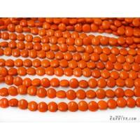 หินฮาวไลท์กลมแบน 12 มิล สีส้ม