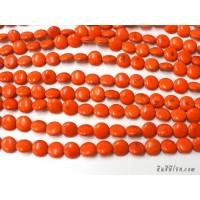 หินฮาวไลท์กลมแบน 14 มิล สีส้ม