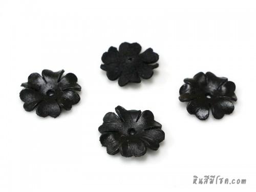 ดอกไม้หนัง 6 กลีบ 25 มิล สีดำ