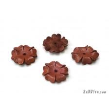 ดอกไม้หนัง 6 กลีบ 25 มิล สีกะปิ