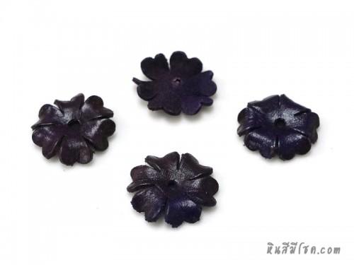 ดอกไม้หนัง 6 กลีบ 25 มิล สีม่วง