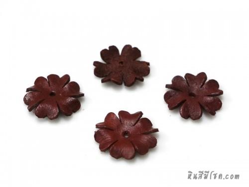 ดอกไม้หนัง 6 กลีบ 25 มิล สีแดงเข้ม
